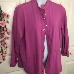 Lightweight snap button pink jacket 2X spring